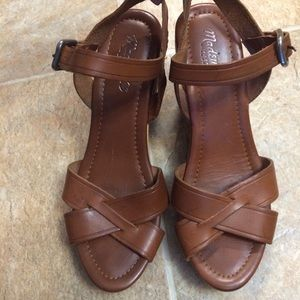 Madewell Wylie Leather & Wood Wedges Made In Italy